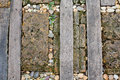 Walkway Made Old Wood And Stone On The Grass Stock Image - 49328271