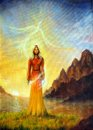 An Enchanting Mystical Priestess With A Sword Of Light In A Land Stock Photography - 49333032