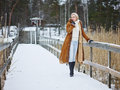 Fashionable Woman And Winter Clothes - Rural Scene Stock Image - 49334921