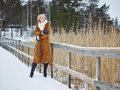 Fashionable Woman And Winter Clothes - Rural Scene Stock Photo - 49334930