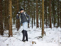 Fashionable Woman And Winter Clothes - Rural Scene Royalty Free Stock Photos - 49334968
