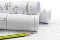 Architect Rolls And Plans Royalty Free Stock Image - 49338746