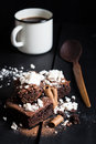 Homemade Double Chocolate Cake With Crushed Meringues, Wafer Rolls And Coffee Stock Photography - 49340642