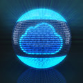 Cloud Symbol On Globe Formed By Binary Code Royalty Free Stock Photo - 49341125