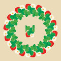 Circle Ornament With Strawberries In Heart Shapes With Flowers Royalty Free Stock Photography - 49363177