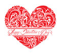 Red Ornamental Floral Heart With Calligraphic Text Royalty Free Stock Photography - 49363187