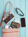 Female Bag With Of Personal Belongings Stock Photography - 49388202