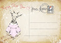 Vintage Postcard.hand Drawing Of Goat.happy New Year. Illustration Stock Photography - 49389132