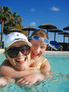 Funny Girls In The Pool Royalty Free Stock Photos - 4941408