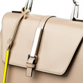 Beige Leather Briefcase Isolated On White Background. Royalty Free Stock Photos - 49400828
