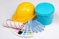 Painter S Tools - Brushes, Work Gloves, Helmet And Bucket Of Pai Stock Photos - 49403863