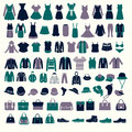 Set Silhouettes Of Fashion Collection Men S And Women Clothes Royalty Free Stock Photo - 49412665