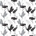 Cranes Birds Seamless Pattern Royalty Free Stock Image - 49413796