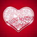 Glass Valentine Heart On Red Background Royalty Free Stock Photos - 49459878