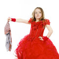Young Cinderella Dressed In Red With Dirty Cloth Stock Photos - 49462733