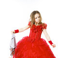 Young Cinderella Dressed In Red With Dirty Cloth Royalty Free Stock Photo - 49462825