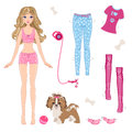 Paper Doll With Clothes And Dog Royalty Free Stock Image - 49464116