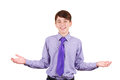 Cheerful Teen Boy In Shirt And Tie Gesturing Welcome Sign And Smiling. You Are Welcome! Isolated On White Stock Photo - 49465840