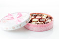 Chocolates In Pink Box On White Background Royalty Free Stock Image - 49467706
