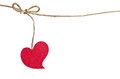 Red Fabric Heart Hanging On The Clothesline Stock Image - 49471861
