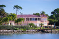 Panorama Of Luxury Beach House With Ship Dock Royalty Free Stock Photography - 49479267