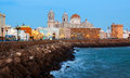 Twilight View Of  Cathedral And  Ocean Coast In Cadiz Stock Image - 49485211