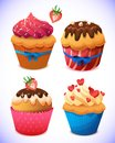 Cupcake Pack. Chocolate And Vanilla Icing Cupcakes Royalty Free Stock Images - 49485859