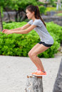 Fitness Woman Bench Jump Squat Jumping On Beach Royalty Free Stock Image - 49488486