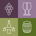 Set Of Line Icons Set. Wine Bottle, Grape And Glass Vector Logo Stock Photo - 49502160