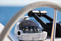 Sailing Yacht Control Wheel And Implement Stock Photo - 49504350