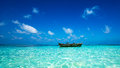 Perfect Tropical Island Paradise Beach And Old Boat Royalty Free Stock Photography - 49518407
