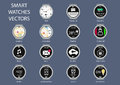 Flat Design  Illustration Icons Of Smart Watch Clock Faces Royalty Free Stock Image - 49520886