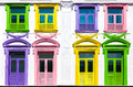 Colorful Windows And White Building Facade Stock Photo - 49520960