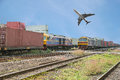 Freight Trains In Dock With Airplane For Logistics Background Royalty Free Stock Photography - 49523577