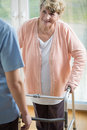Woman With Walker Stock Photos - 49525873