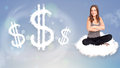 Young Woman Sitting On Cloud Next To Cloud Dollar Signs Royalty Free Stock Images - 49530439