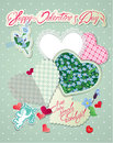 Vintage Card, Old Paper Peaces In Hearts Shapes Stock Images - 49532124