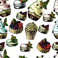 Pattern With Bright And Delicious Pies, Cupcakes Stock Photos - 49535103