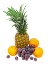 Pineapple, Dark Grapes And Tangerines Isolated On A White Backg Royalty Free Stock Photo - 49538275
