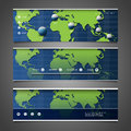 Web Design Elements - Header Designs With World Map Stock Images - 49538334