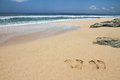 Beach With Footsteps And Stones-Bali,Indonesia Royalty Free Stock Photo - 49550005