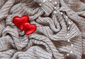 Knitted Wool, Red Heart, Pearl, Valentine Stock Photos - 49554203