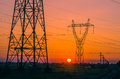 Silhouette Electricity Pylons Stock Images - 49559104
