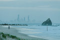 Currumbin Rock With Gold Coast City As Background Stock Image - 49568741