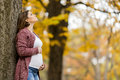 Pregnant Woman In The Autumn Park Stock Images - 49573484