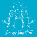 Couple Cats On Valentines Day Royalty Free Stock Photo - 49582705
