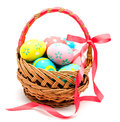 Colorful Handmade Easter Eggs In The Basket Isolated Royalty Free Stock Photo - 49583515