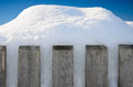 Wooden Fence With Snow Piles In Front Of Blue Sky Royalty Free Stock Photos - 49584098