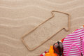 Aruba Pointer And Beach Accessories Lying On The Sand Royalty Free Stock Photography - 49588457
