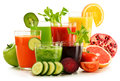 Glasses With Fresh Organic Vegetable And Fruit Juices On White Stock Photography - 49588822